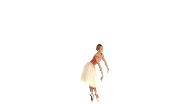 young ballerina dancing on white background, slow motion - tutu bildbanksvideor och videomaterial från bakom kulisserna