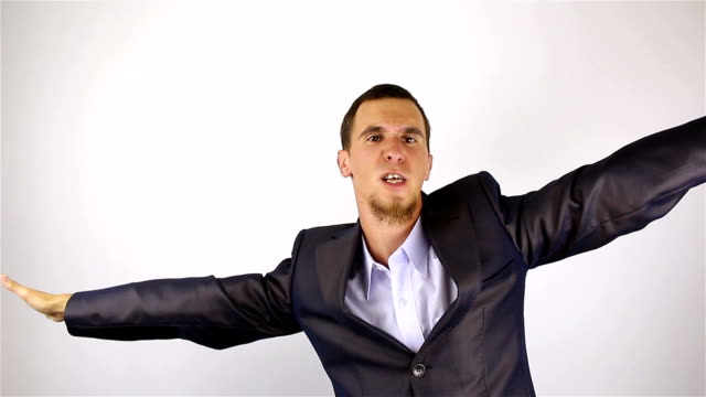 young bearded man dancing - solo un uomo giovane video stock e b–roll