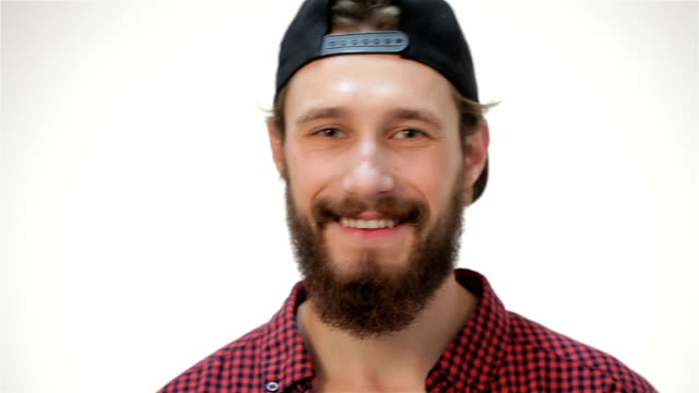 Young bearded student man video