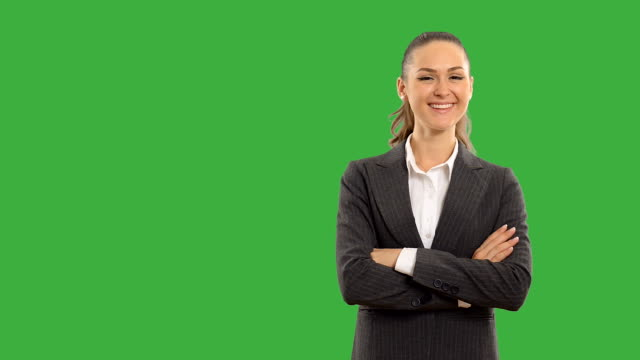 Young beautiful business woman showing copy space on  white background.
