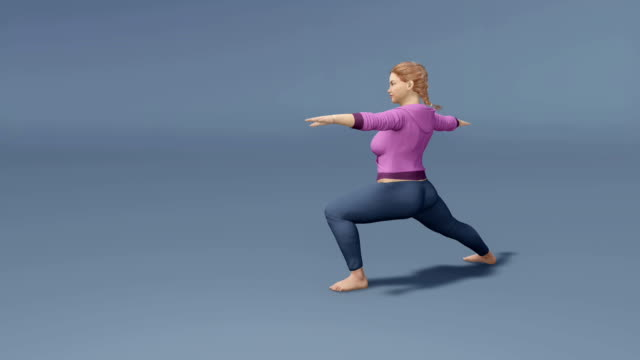 Young beautiful curvy woman in yoga pose on gray background video
