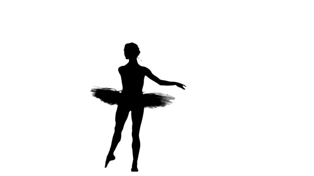 stockvideo's en b-roll-footage met young beautiful dancer posing on a studio, silhouette, slow motion - ballet