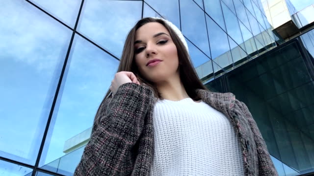 Young Beautiful Fashion Girl Office Building video