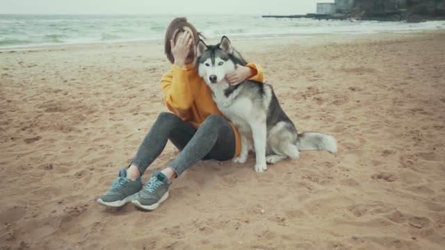 young beautiful female walking with siberian husky dog on the beach. woman runs and plays with husky dog - malamute video stock e b–roll
