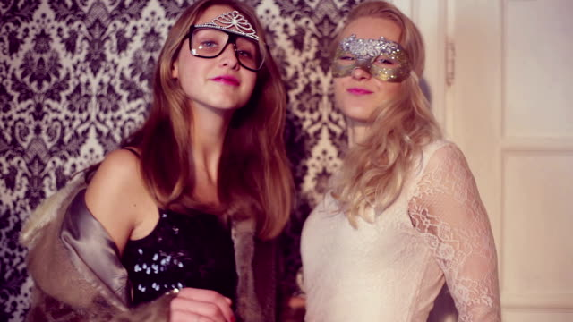 young beautiful girl in masks at the party video
