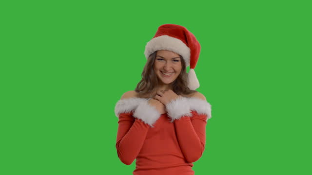 young beautiful girl receives a gift in a Santa Claus video