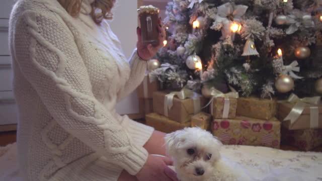 junge schöne frau trinken heiße schokolade in einer gemütlichen weihnachtsatmosphäre - weihnachtsstrumpf stock-videos und b-roll-filmmaterial