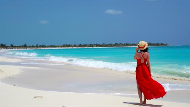 Mujer hermosa joven en Costa tropical. Vista posterior de joven hermoso vestido fondo del mar - vídeo