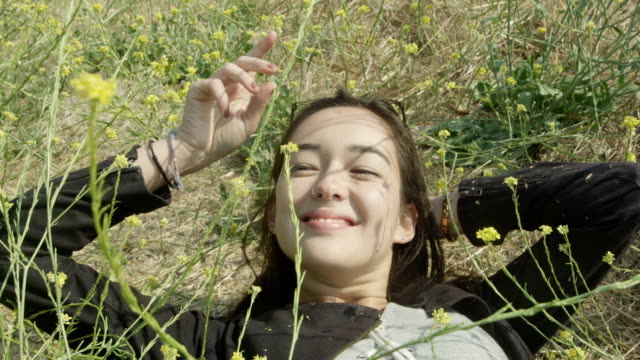 A young bi-racial woman lays in a bed of wildflowers. video