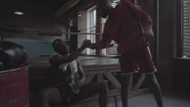 young black sparring partners chatting on bench next to boxing ring - irriducibilità video stock e b–roll