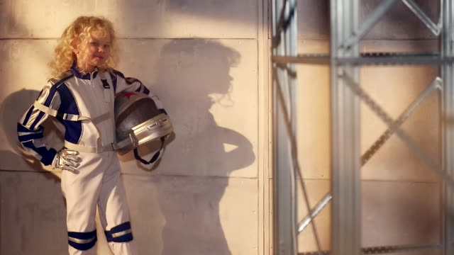 Young blond girl astronaut video