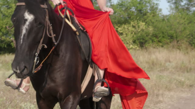 Young blonde girl wearing bright long red dress riding black horse Young blonde girl wearing bright long red dress riding black horse in countryside. Beautiful female rider sitting in saddle on stallion and horse walking. Horseback riding in slow motion. free stock without watermark stock videos & royalty-free footage