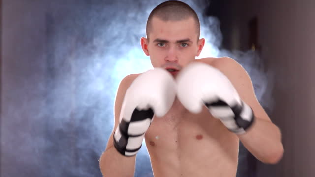 Young boxer warming up before a fight video
