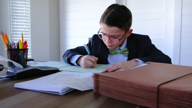 Young Boy Accountant at Work
