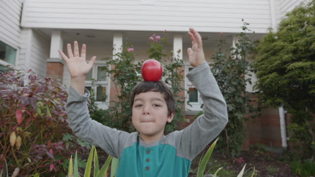 Young boy balancing apple on his head video