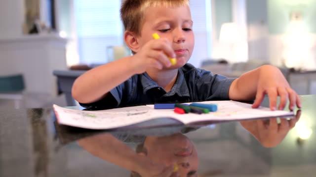 giovane ragazzo colorare con delle matite - matita colorata video stock e b–roll