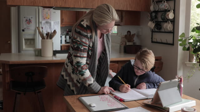 young boy does schoolwork at home - preadolescente video stock e b–roll