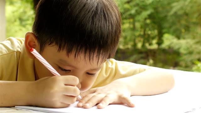 young boy な作業を行う - 勉強する点の映像素材/bロール