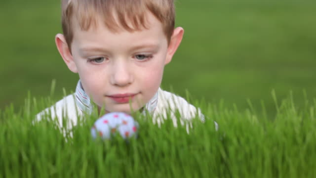 Young boy finds Easter egg in grass video