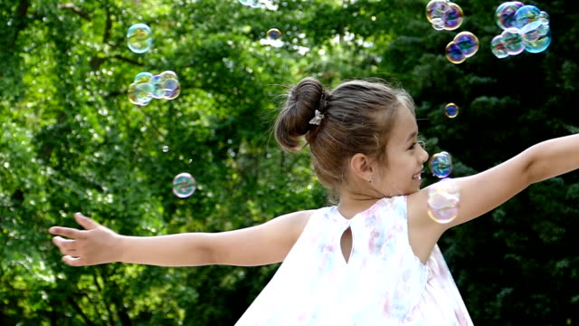 Young boy making bubbles, slow motion video