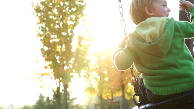 Young boy on a swing video