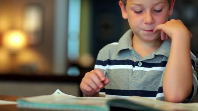 young boy studying - çalışma kitabı stok videoları ve detay görüntü çekimi
