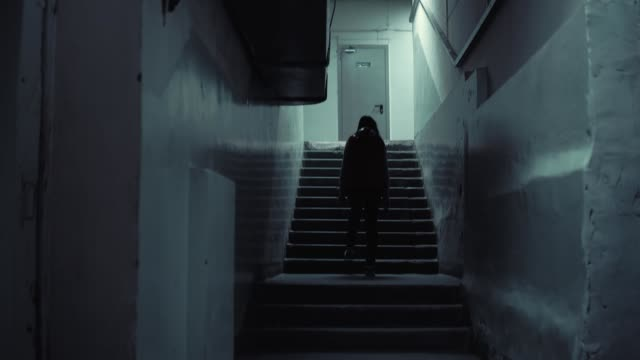 Young brunette woman in red sleeveless jacket rise up long old staircase in dark video
