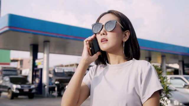 Young Business Asian Woman Working with Mobile Phone.