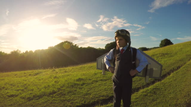 Young Business Boy with Jet Pack in England video