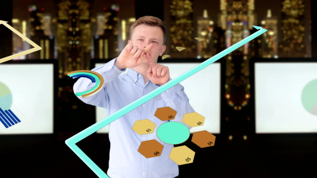 Young Business Man Analyzing Moving Animated Charts, Graphs and Diagrams. Skyscraper and City Skyline Background. Symbolizing Creativity, Ideas, Growth and Success. video