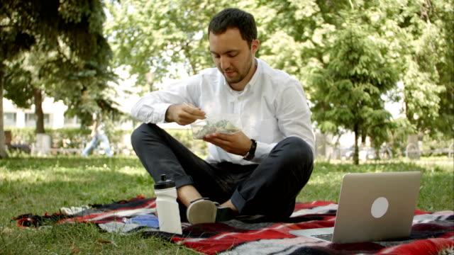 jonge zakenman genieten van voedsel, waardoor hij in een doos van de lunch vanuit huis. Lunch in het park buiten video