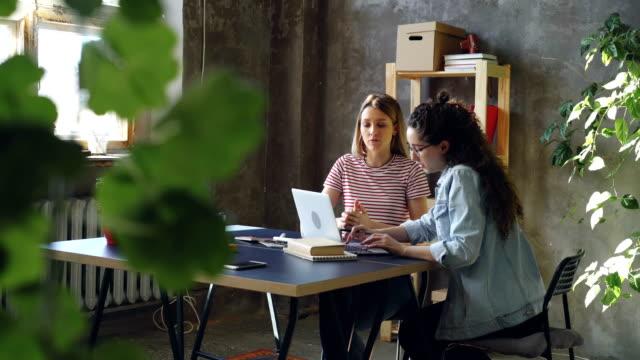 stockvideo's en b-roll-footage met jonge zakelijke partners werken met laptop en praten. dark-haired vrouw aan het typen is, blonde is ideeën aandraagt. ze zijn het vieren van succes met hoge vijf. - inspanning