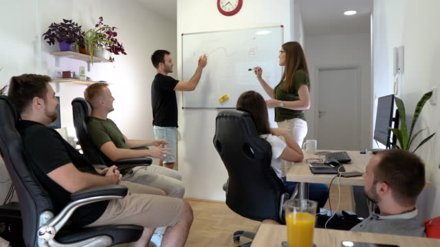 Young business people brainstorming in their new start up office
