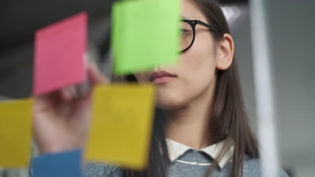 Young Business Woman Brainstorming. Asian Woman Writing Down Ideas On Sticky Notes Attached To Glass Wall. Business Success Concept