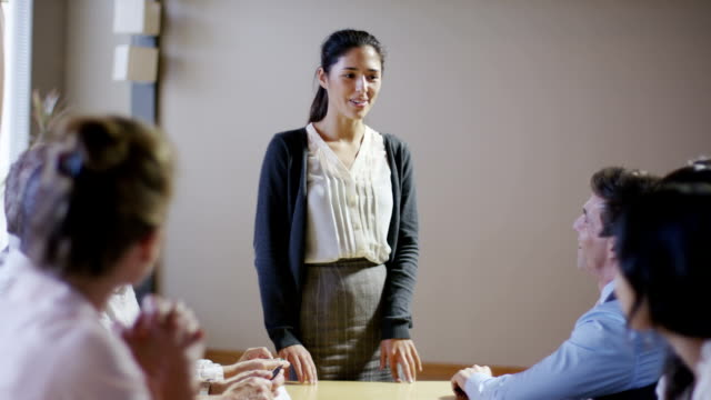 Young Business Woman Leading Meeting video