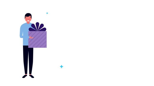 若いビジネスマンアバター文字アイコン - アイコン プレゼント点の映像素材/bロール