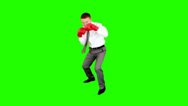 vídeos y material grabado en eventos de stock de joven empresario de boxeo y golpear mismo, pantalla verde - puñetazo