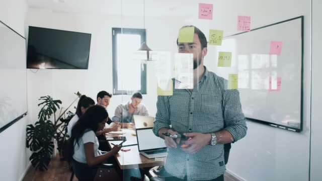 Young businessman sharing business strategy plan idea with his colleagues and writing notes down on paper and putting post-it paper on the white board during the meeting at modern office