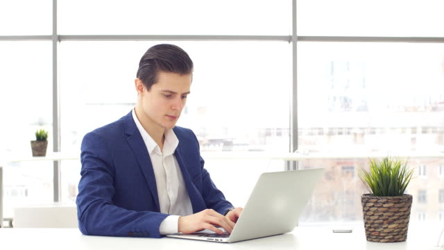 Young businessman working at laptop in office video