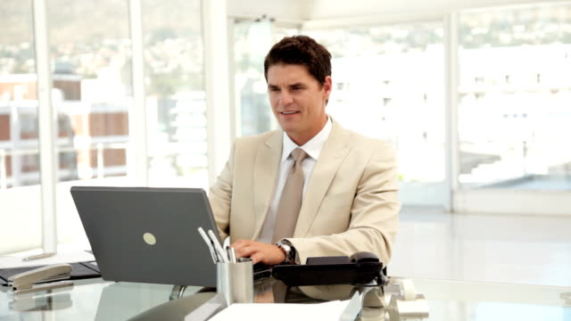 Young Businessman Working on a Laptop video