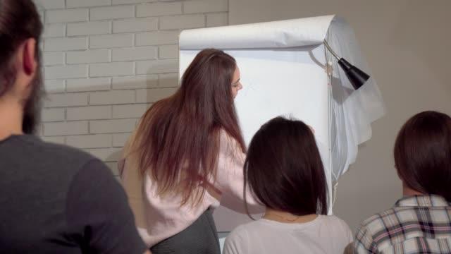 Joven empresaria basándose en el rotafolio, conferencia de negocios líder - vídeo
