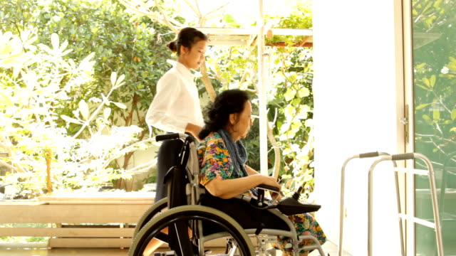 young caregiver helping elderly woman on wheelchair video