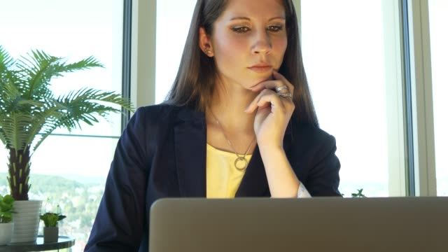 Young Caucasian business employee working with laptop in modern office