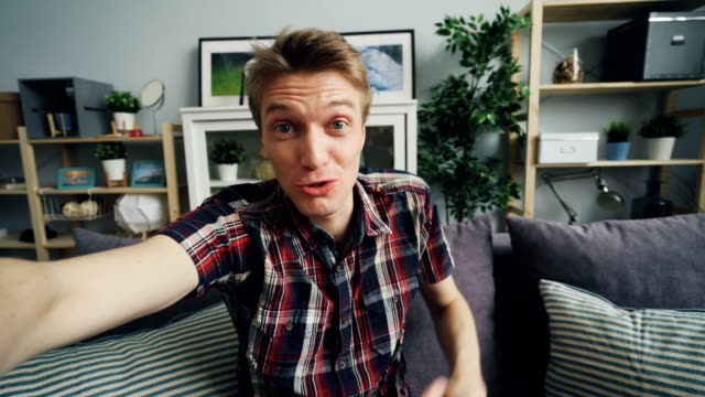young cheerful man is making online video call holding smartphone sitting on sofa at home. - video filmów i materiałów b-roll