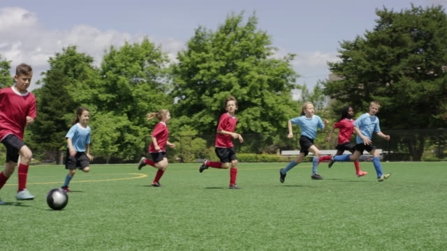 Young children dribbilng a soccer ball up the field during a game video