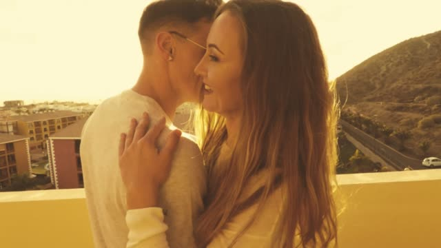Young couple caucasian dancing on the terrace video