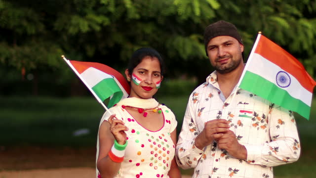 Young couple celebrating Independence Day, India video