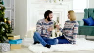 istock Young couple celebrating the Christmas or New Year near Christmas tree. 4K 1189342869