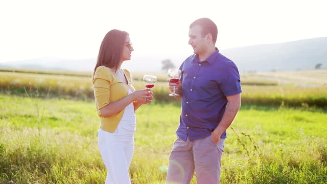 Young couple enjoying a glass of red wine video