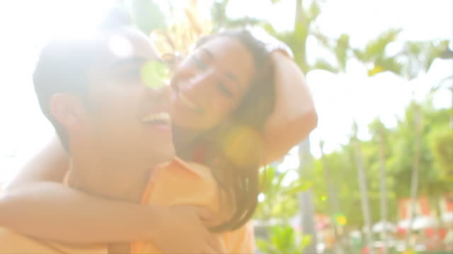 Young couple having fun video